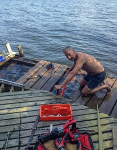 Hard at work fixing up the dock.